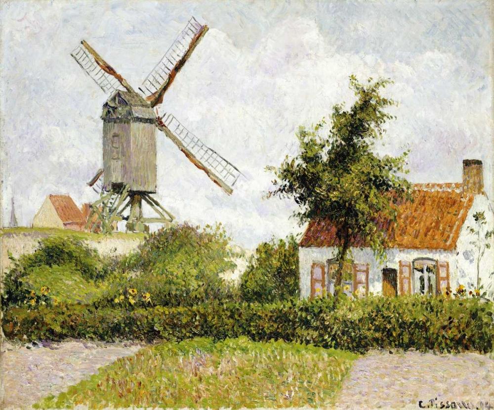 konfigurieren des Kunstdrucks in Wunschgröße Windmill at Knock, Belgium von Pissarro, Camille