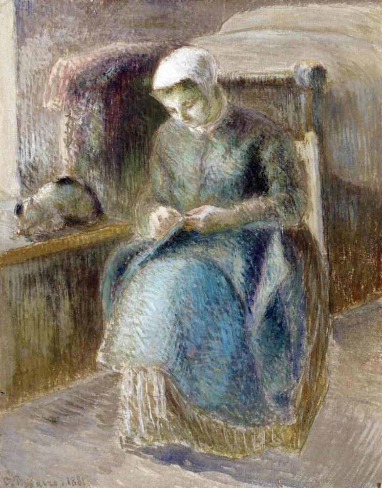 konfigurieren des Kunstdrucks in Wunschgröße Woman Sewing von Pissarro, Camille