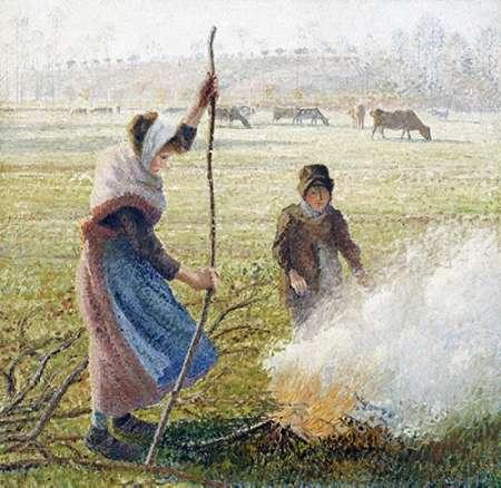 konfigurieren des Kunstdrucks in Wunschgröße White Frost, Woman Breaking Up Wood von Pissarro, Camille