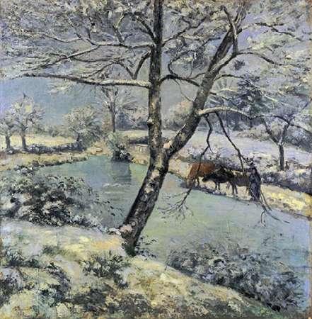 konfigurieren des Kunstdrucks in Wunschgröße Winter at Montfoucault with Snow, 1875 von Pissarro, Camille