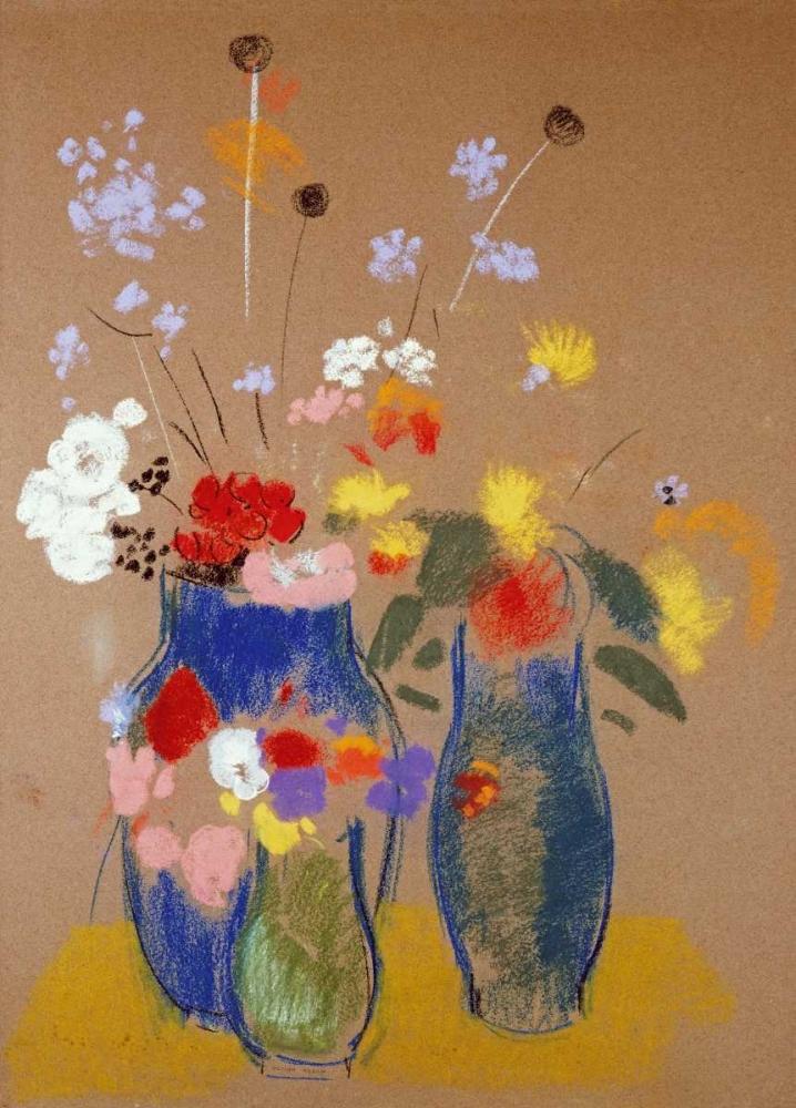 konfigurieren des Kunstdrucks in Wunschgröße Three Vases of Flowers von Redon, Odilion