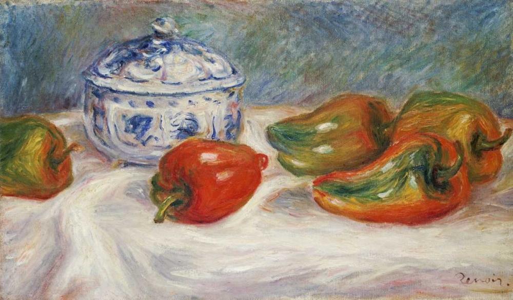 konfigurieren des Kunstdrucks in Wunschgröße Still Life With a Blue Sugar Bowl and Peppers von Renoir, Pierre-Auguste