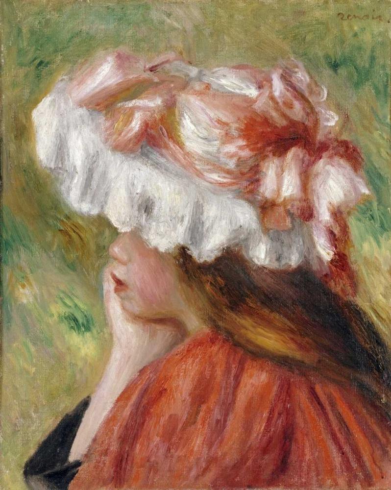 konfigurieren des Kunstdrucks in Wunschgröße Head of a Young Girl In a Red Hat von Renoir, Pierre-Auguste