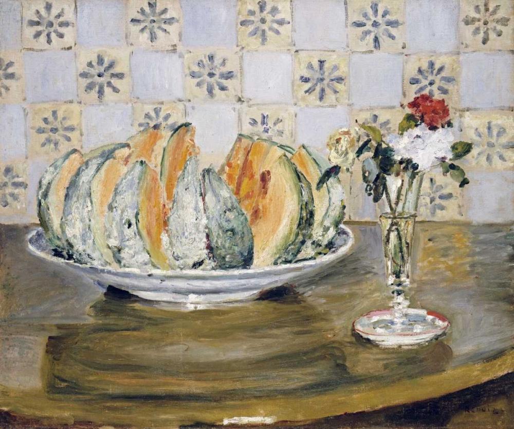 konfigurieren des Kunstdrucks in Wunschgröße Still Life of a Melon and a Vase of Flowers von Renoir, Pierre-Auguste