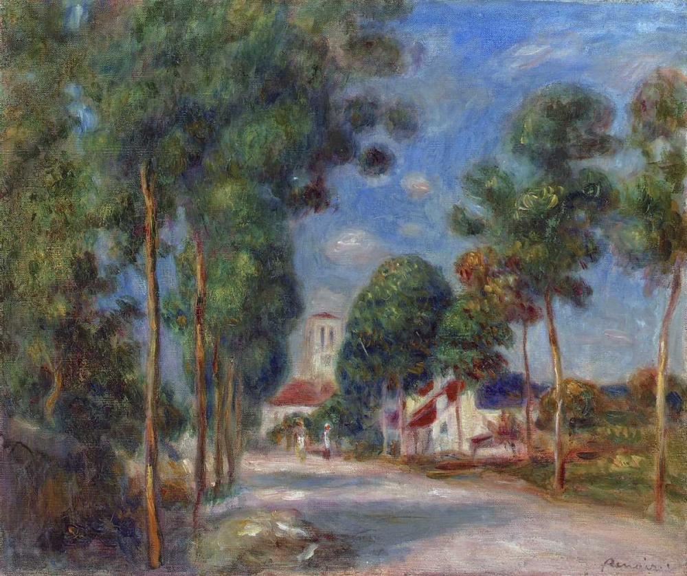 konfigurieren des Kunstdrucks in Wunschgröße Entree du village dEssoyes von Renoir, Pierre-Auguste