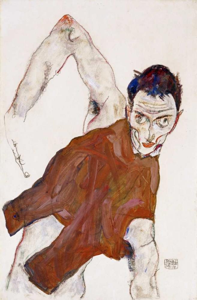 Self Portrait In a Jerkin von Schiele, Egon <br> max. 61 x 94cm <br> Preis: ab 10€