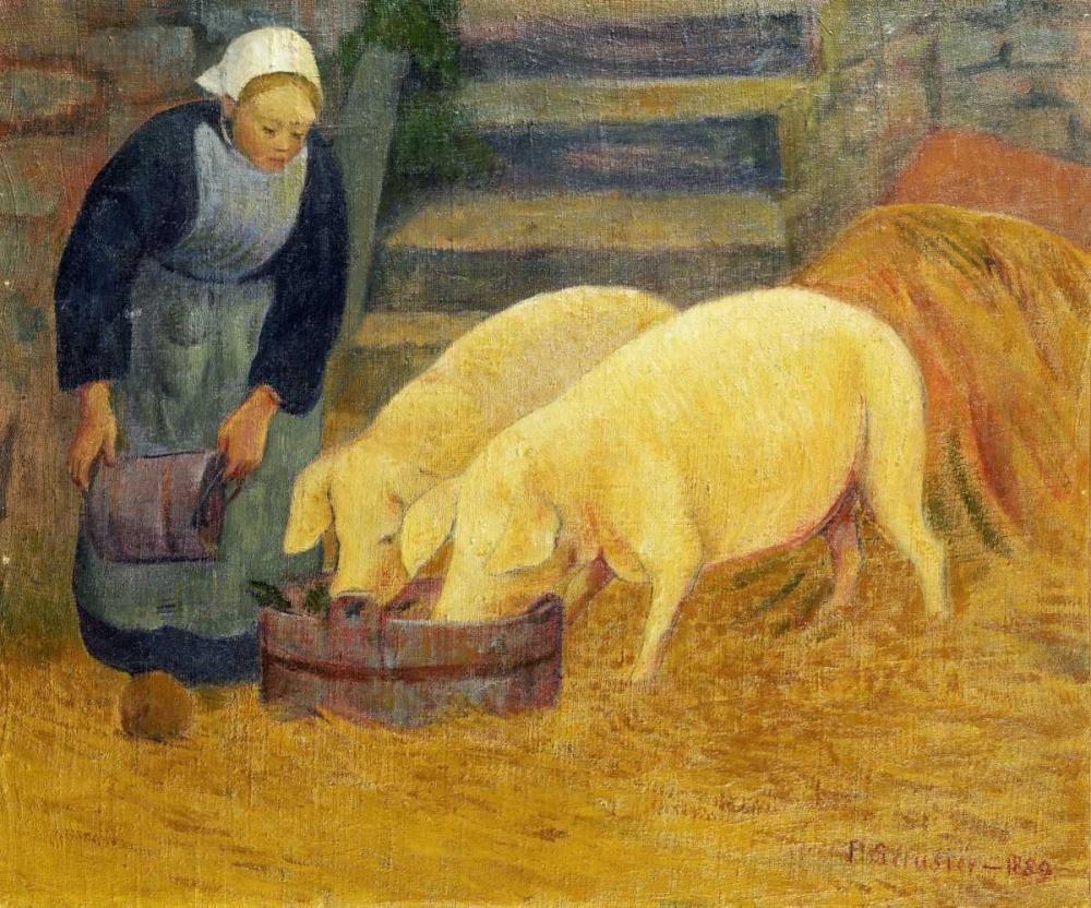 konfigurieren des Kunstdrucks in Wunschgröße A Young Girl Feeding Two Pigs von Einzelbilder