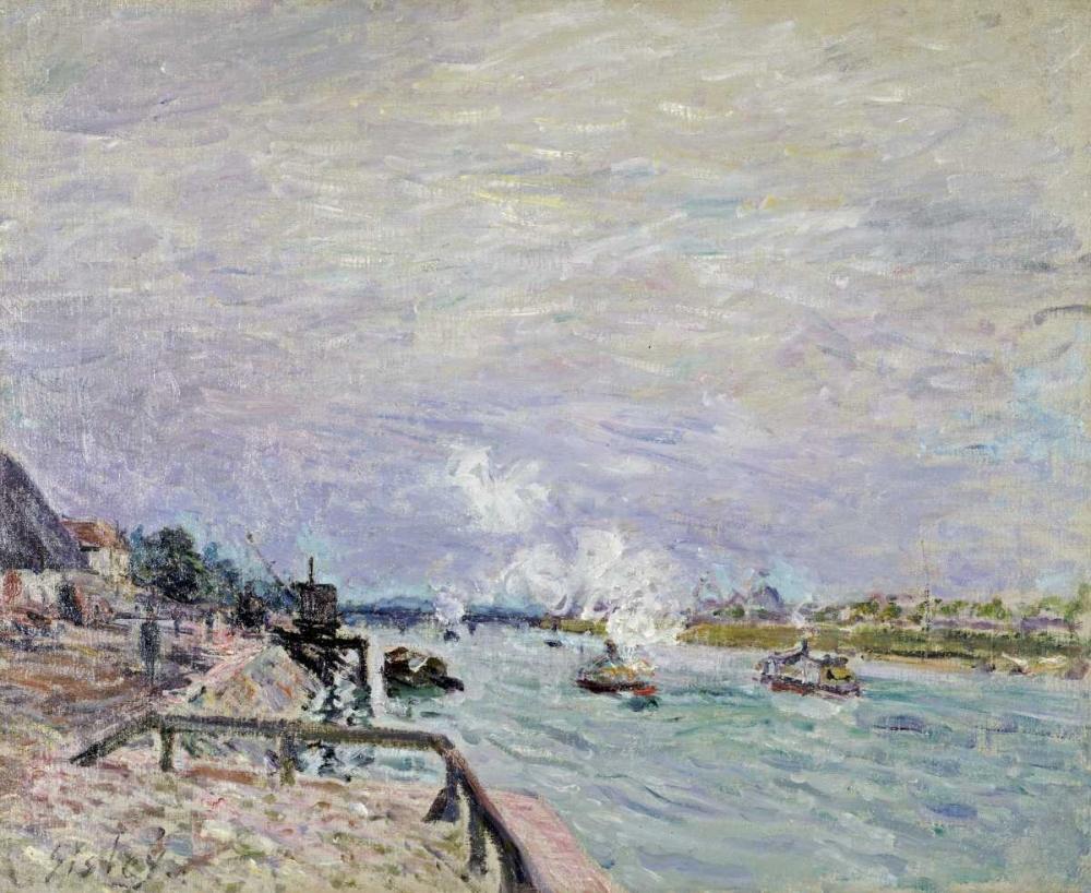 konfigurieren des Kunstdrucks in Wunschgröße The Seine at Grenelle - Wet Weather von Sisley, Alfred