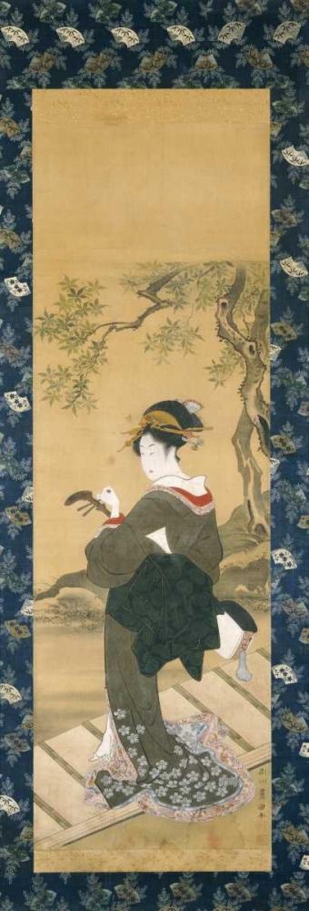 konfigurieren des Kunstdrucks in Wunschgröße Portrait of a Woman Tuning Her Shamisen On a Veranda von Toyokuni, Utagawa