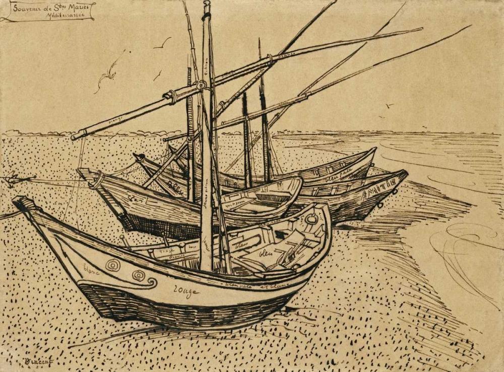 konfigurieren des Kunstdrucks in Wunschgröße Boats On The Beach at Saintes-Maries-De-La-Mer von Van Gogh, Vincent