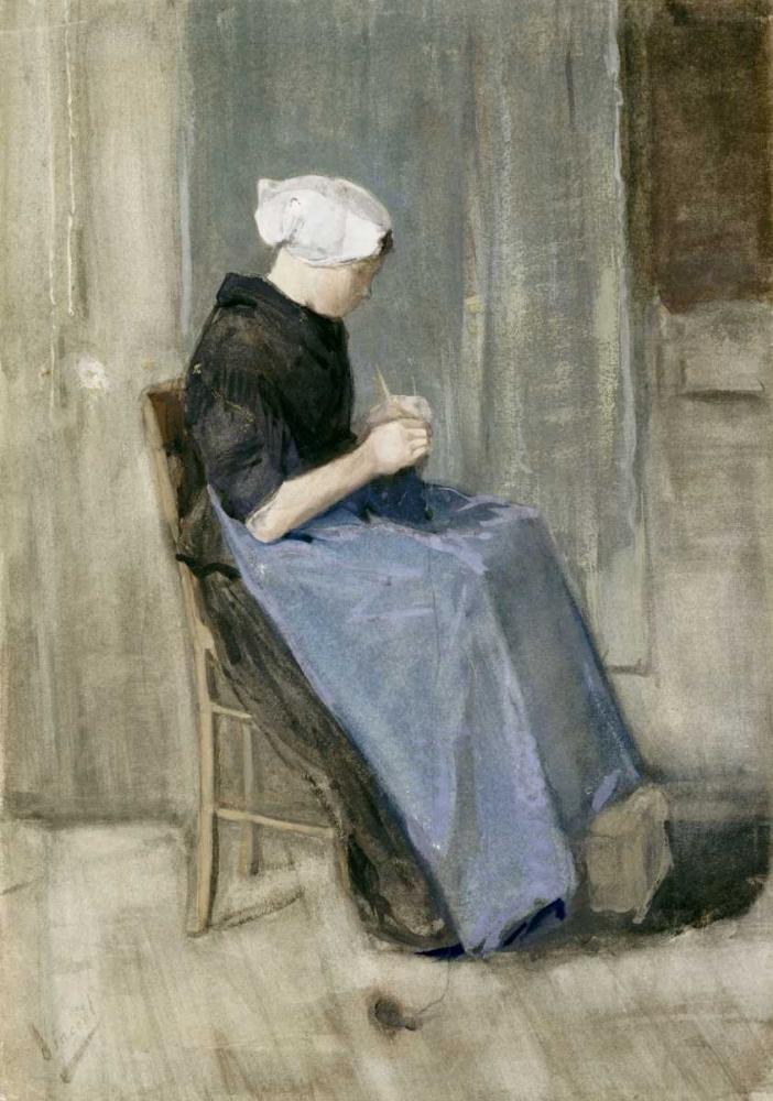 konfigurieren des Kunstdrucks in Wunschgröße A Young Scheveningen Woman Knitting von Van Gogh, Vincent