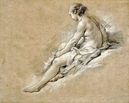 konfigurieren des Kunstdrucks in Wunschgröße A Nude Girl Seated von Boucher, Francois