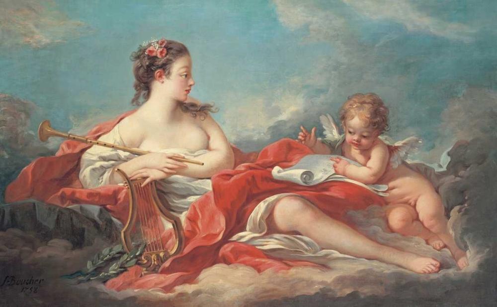 konfigurieren des Kunstdrucks in Wunschgröße Erato, The Muse of Love Poetry von Boucher, Francois