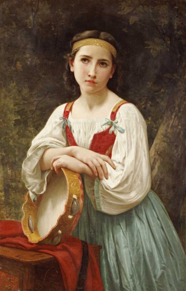 konfigurieren des Kunstdrucks in Wunschgröße Basque Gipsy Girl With Tambourine von Bouguereau, William-Adolphe