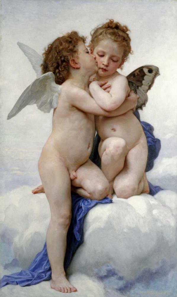 konfigurieren des Kunstdrucks in Wunschgröße The First Kiss von Bouguereau, William-Adolphe