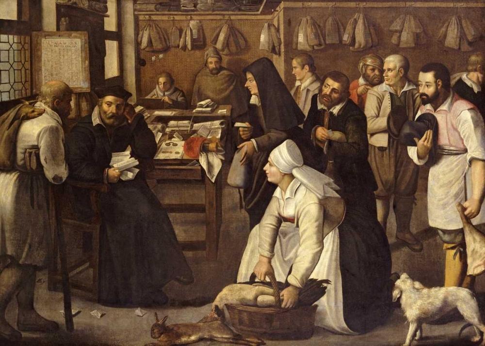 konfigurieren des Kunstdrucks in Wunschgröße A Tax Office von Bruegel, Pieter the Elder