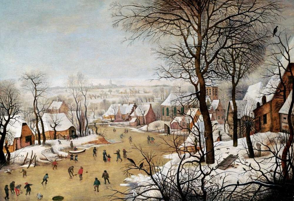 konfigurieren des Kunstdrucks in Wunschgröße A Winter Landscape With Skaters and a Bird Trap von Bruegel, Pieter the Elder