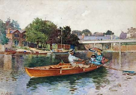 konfigurieren des Kunstdrucks in Wunschgröße A Boating Party On The Thames at Cookham von Einzelbilder