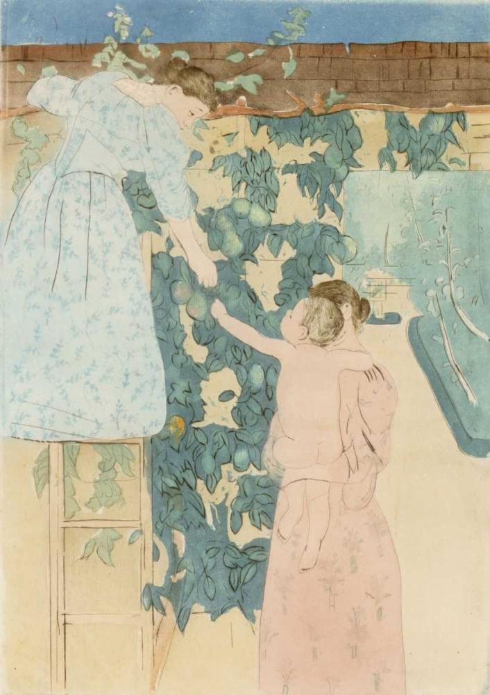 konfigurieren des Kunstdrucks in Wunschgröße Gathering Fruit von Cassatt, Mary