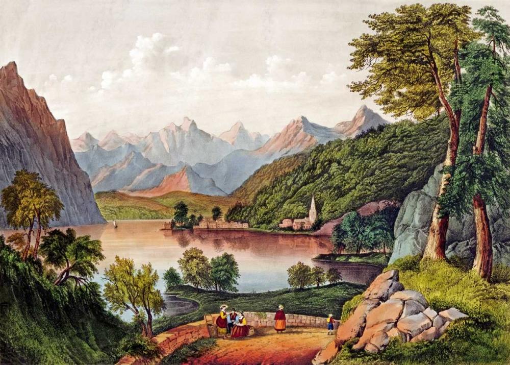 konfigurieren des Kunstdrucks in Wunschgröße Lake Lugano, Italy von Currier and Ives