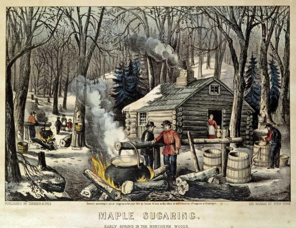 konfigurieren des Kunstdrucks in Wunschgröße Maple Sugaring - Early Spring In The Northern Woods von Currier and Ives