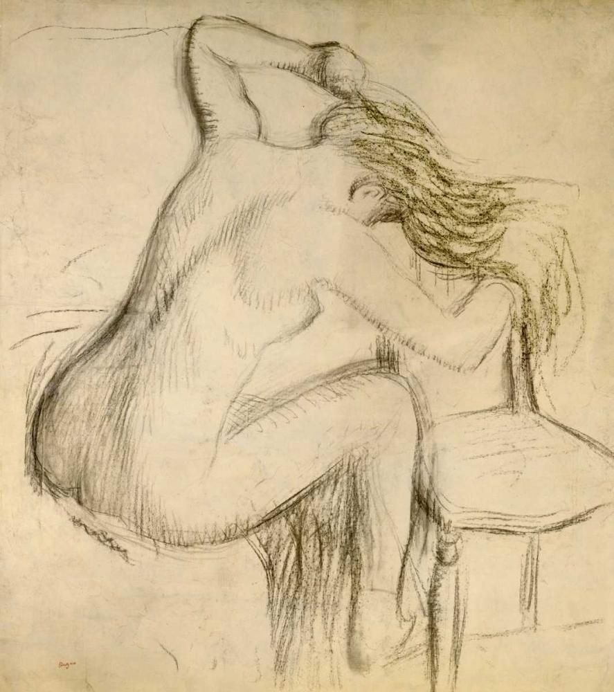 konfigurieren des Kunstdrucks in Wunschgröße A Seated Woman Styling Her Hair von Degas, Edgar