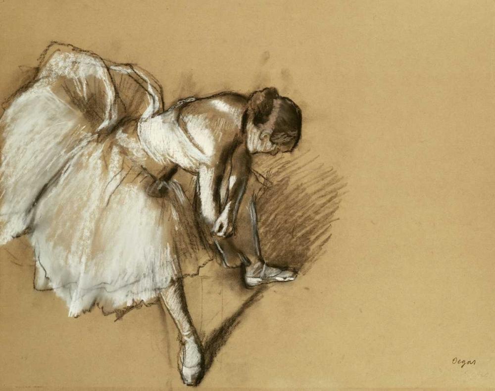 konfigurieren des Kunstdrucks in Wunschgröße Dancer Adjusting Her Shoe von Degas, Edgar
