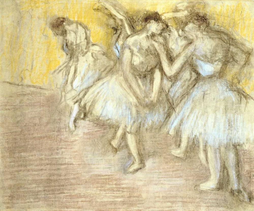 konfigurieren des Kunstdrucks in Wunschgröße Five Dancers On Stage von Degas, Edgar