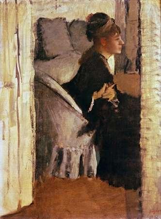 konfigurieren des Kunstdrucks in Wunschgröße Woman Putting On Her Gloves von Degas, Edgar