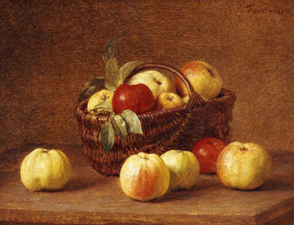 konfigurieren des Kunstdrucks in Wunschgröße Apples In a Basket On a Table von Fantin-Latour, Henri