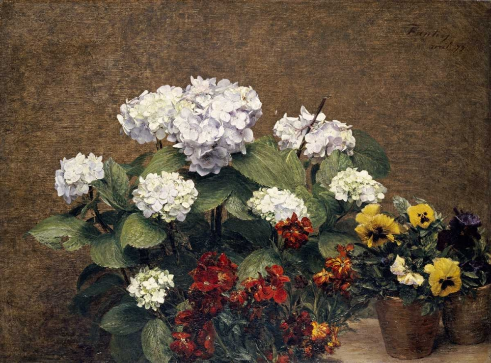 konfigurieren des Kunstdrucks in Wunschgröße Hydrangeas, Wallflowers and Two Pots of Pansies von Fantin-Latour, Henri