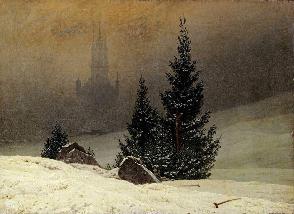 konfigurieren des Kunstdrucks in Wunschgröße Winter Landscape With a Church von Friedrich, Caspar David