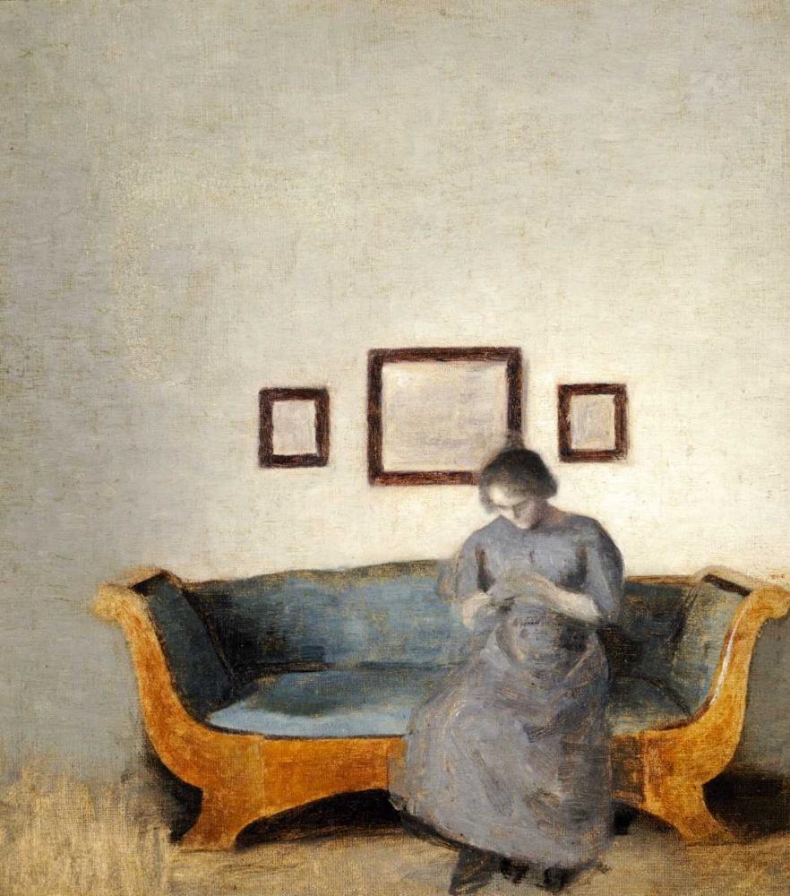konfigurieren des Kunstdrucks in Wunschgröße Ida Hammershoi Sitting On a Sofa von Hammershoi, Vilhelm