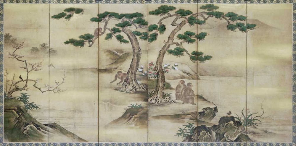 Birds, Flowers and Monkeys Six-Panel Screen von Kano School <br> max. 112 x 56cm <br> Preis: ab 10€