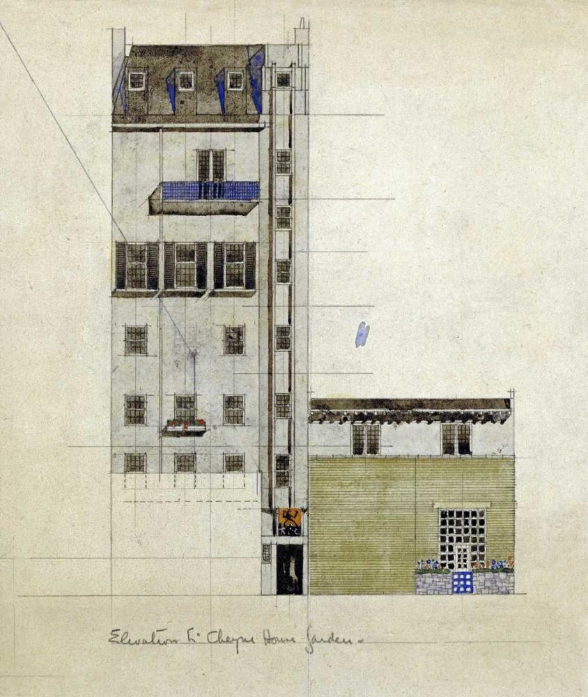 konfigurieren des Kunstdrucks in Wunschgröße London, Elevation of Proposed Studio, 1920 von Mackintosh, Charles Rennie