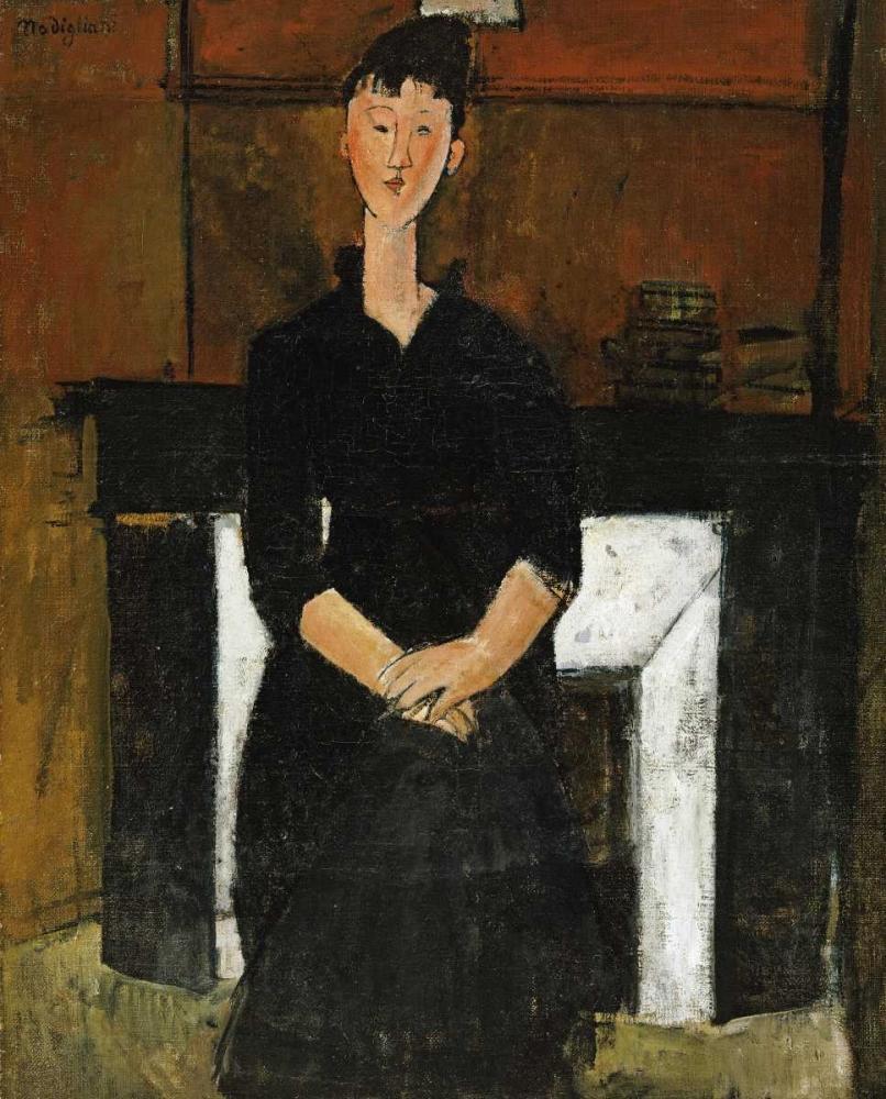 konfigurieren des Kunstdrucks in Wunschgröße Woman Sat By a Fireplace von Modigliani, Amedeo