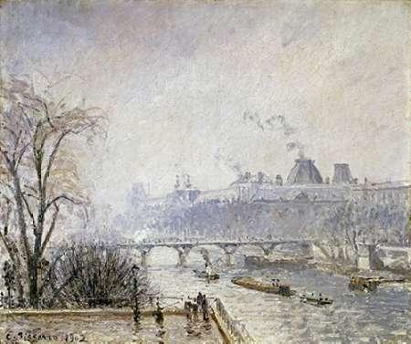 konfigurieren des Kunstdrucks in Wunschgröße The Louvre and The Seine From The Pont Neuf - Morning Mist von Pissarro, Camille