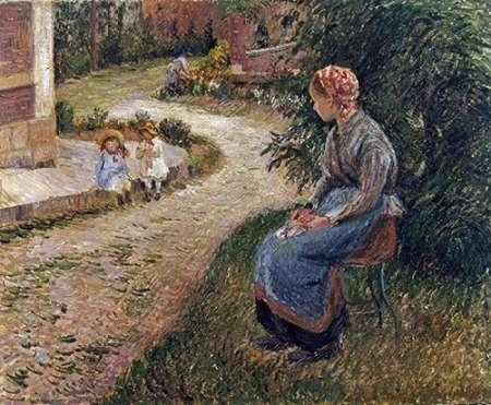 konfigurieren des Kunstdrucks in Wunschgröße The Maid Sitting In The Garden at Eragny von Pissarro, Camille