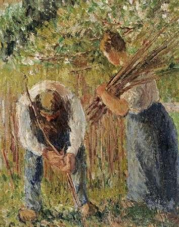 konfigurieren des Kunstdrucks in Wunschgröße Farm Labourers Planting Stakes von Pissarro, Camille