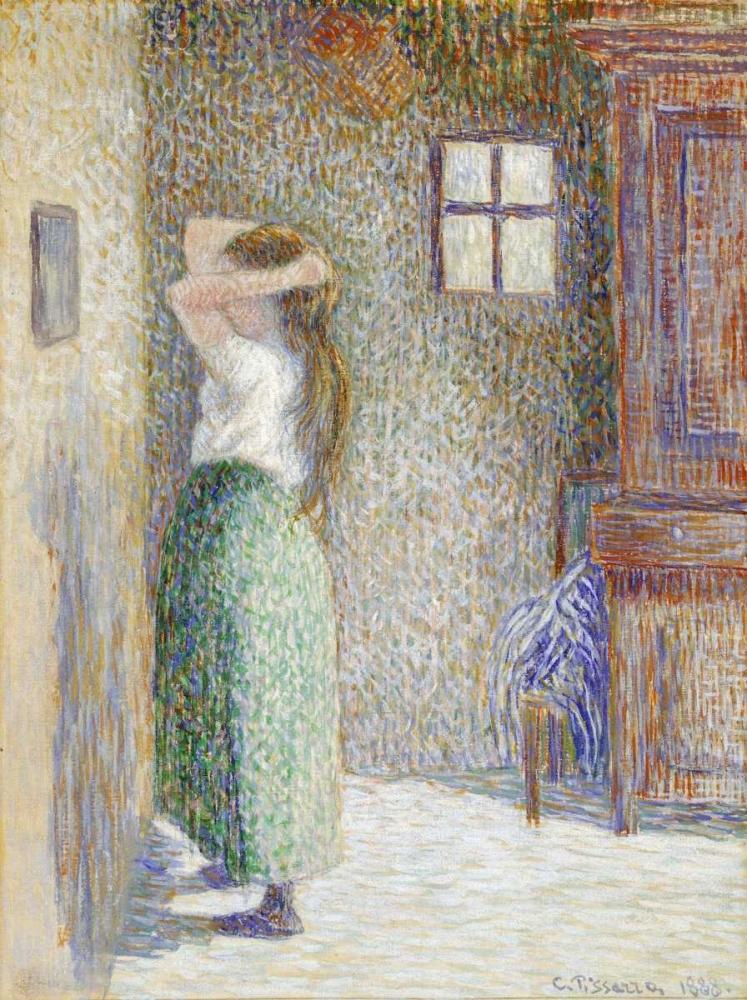 konfigurieren des Kunstdrucks in Wunschgröße Country Girl at Her Toilet von Pissarro, Camille