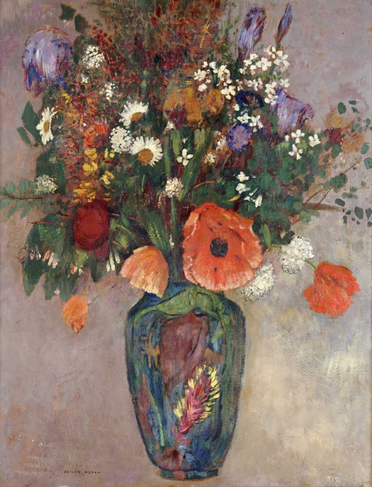 konfigurieren des Kunstdrucks in Wunschgröße Bouquet of Flowers In a Vase von Redon, Odilion