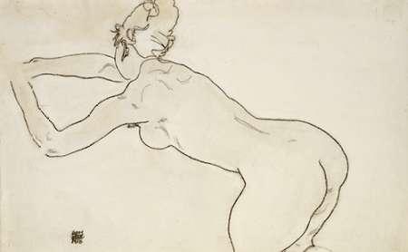 konfigurieren des Kunstdrucks in Wunschgröße Female Nude Kneeling von Schiele, Egon