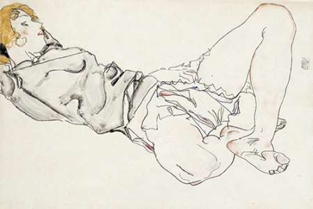 Reclining Woman With Blond Hair von Schiele, Egon <br> max. 86 x 58cm <br> Preis: ab 10€
