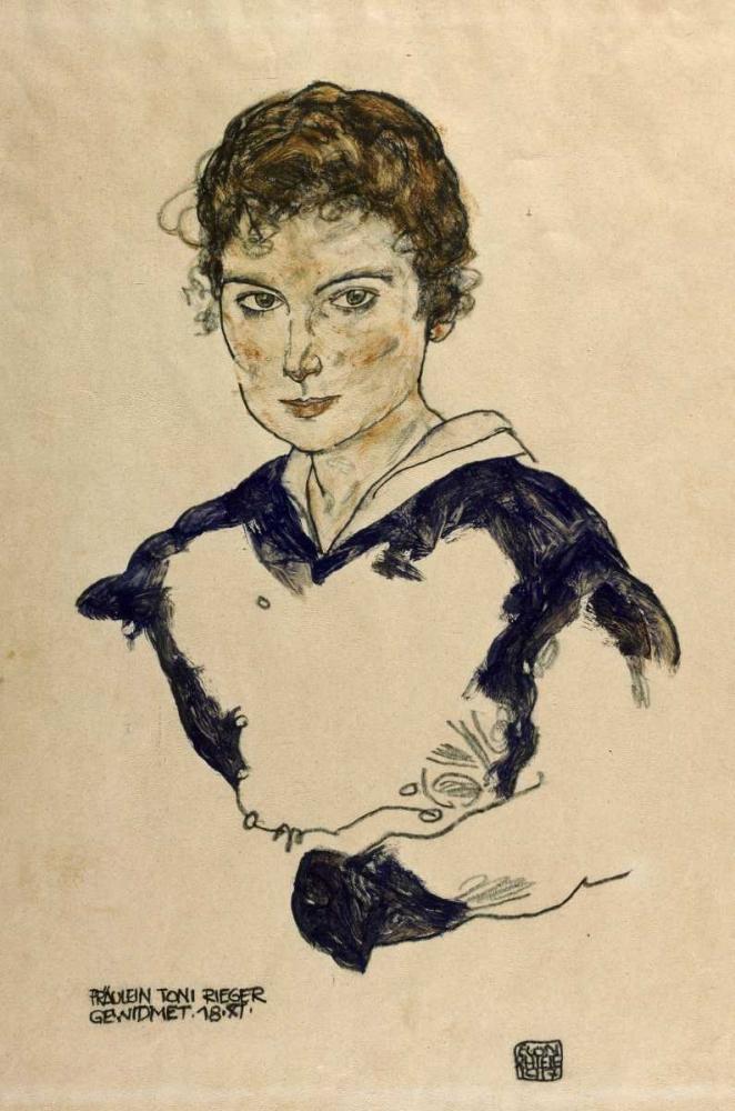 konfigurieren des Kunstdrucks in Wunschgröße Portrait Fraulein Toni Rieger von Schiele, Egon