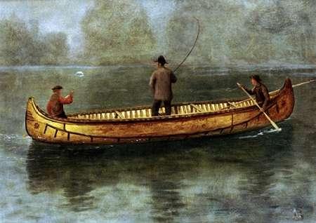 konfigurieren des Kunstdrucks in Wunschgröße Fishing From a Canoe von Bierstadt, Albert