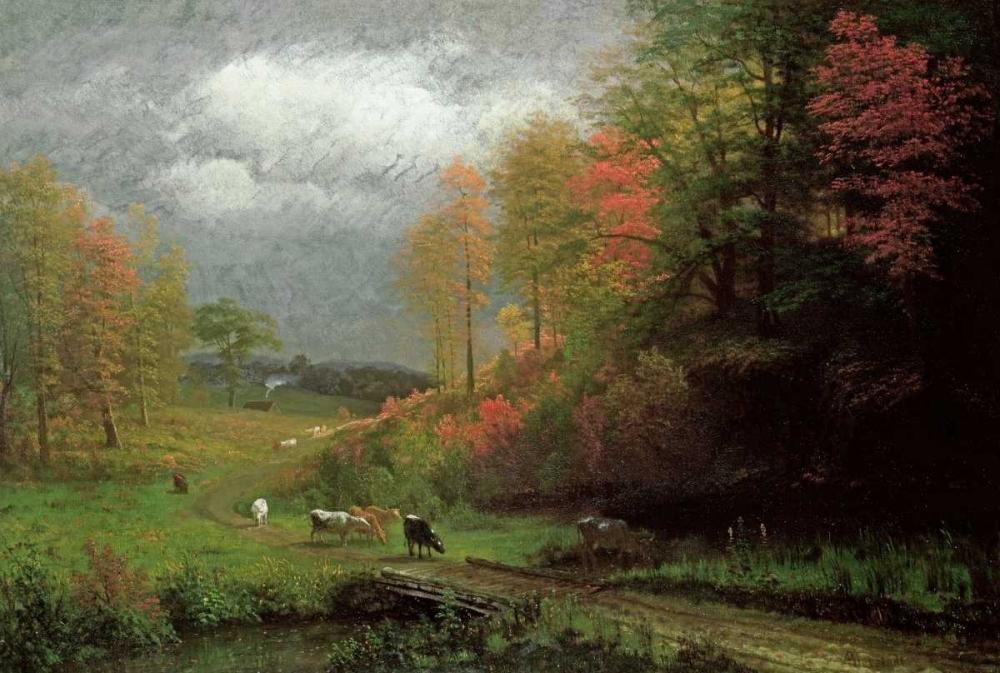konfigurieren des Kunstdrucks in Wunschgröße Rainy Day In Autumn, Massachusetts von Bierstadt, Albert