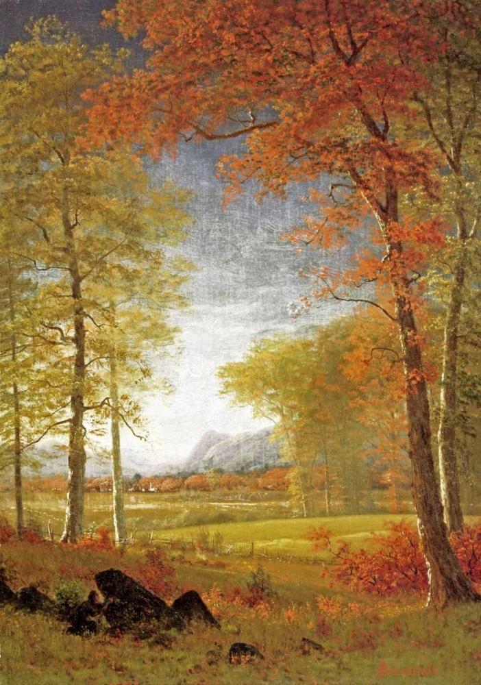 konfigurieren des Kunstdrucks in Wunschgröße Autumn In America, Oneida County, New York von Bierstadt, Albert
