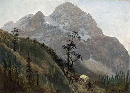 konfigurieren des Kunstdrucks in Wunschgröße Western Trail, The Rockies von Bierstadt, Albert