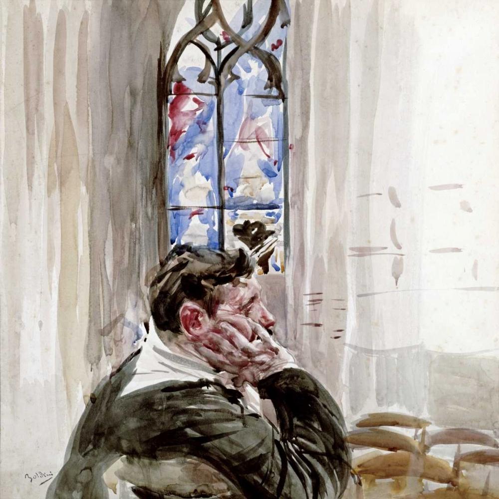 konfigurieren des Kunstdrucks in Wunschgröße Portrait of a Man In Church von Boldini, Giovanni