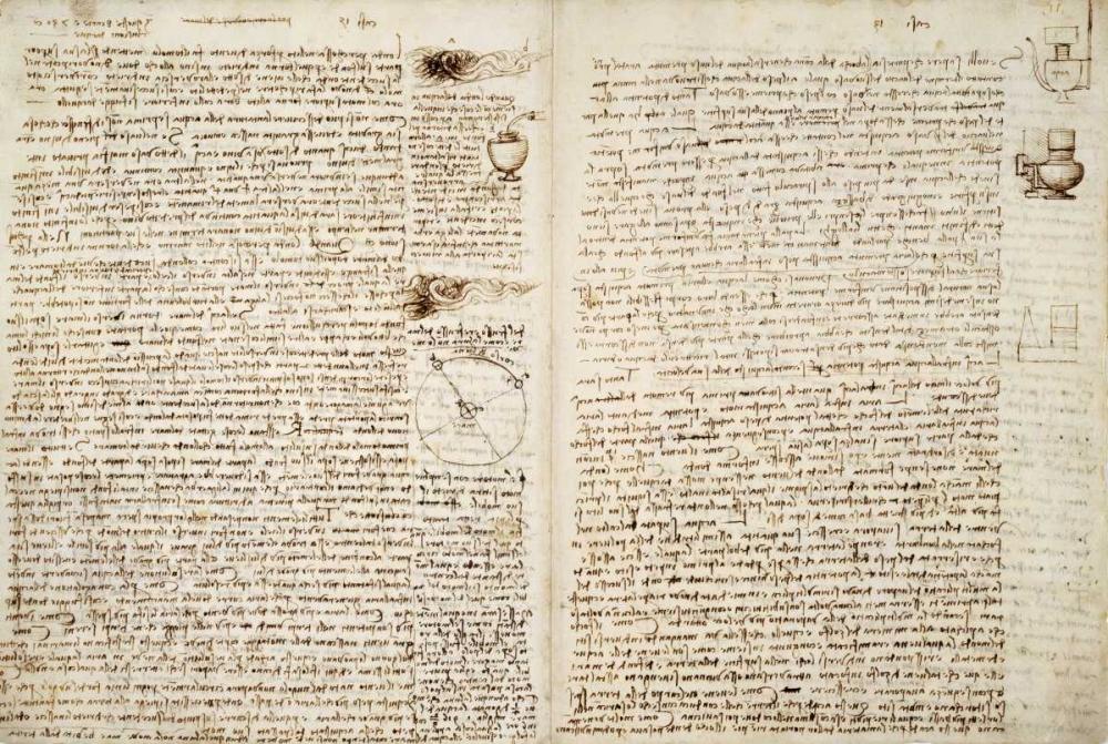konfigurieren des Kunstdrucks in Wunschgröße Codex Hammer Pages 124-127 von Da Vinci, Leonardo